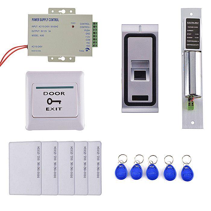 Diy Fingerprint 125khz Rfid Id Card Reader Metal Case 2 In 1 Door Access Control System Kit Electric Bolt Access Control System Electric Bolt Access Control