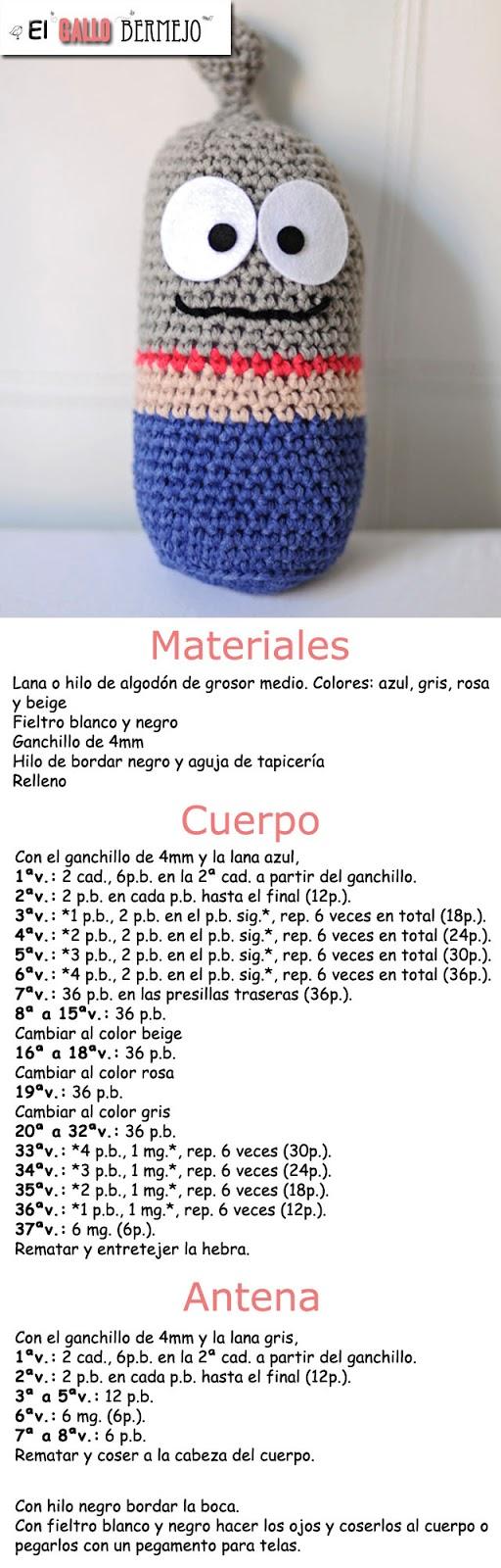El Gallo Bermejo: Patrón Walter Gray (toy gris) Versión gratis en ...