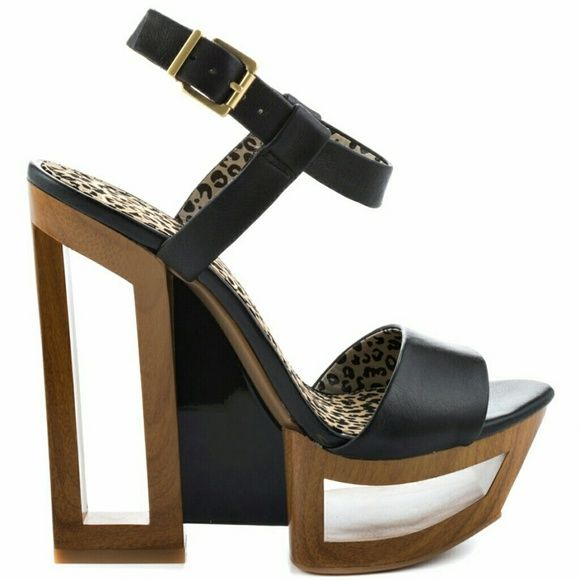 BRAND NEW Jessica Simpson CutOut Wedge Heels 8B/38 ?Bnwob black leather upper covering the adjustable ankle closure and single strap vamp  Unique edge is a cut out 6 inch heel and 2 inch platform  Fits true to size   Questions?? Feel free to ask!!! Jessica Simpson Shoes Wedges