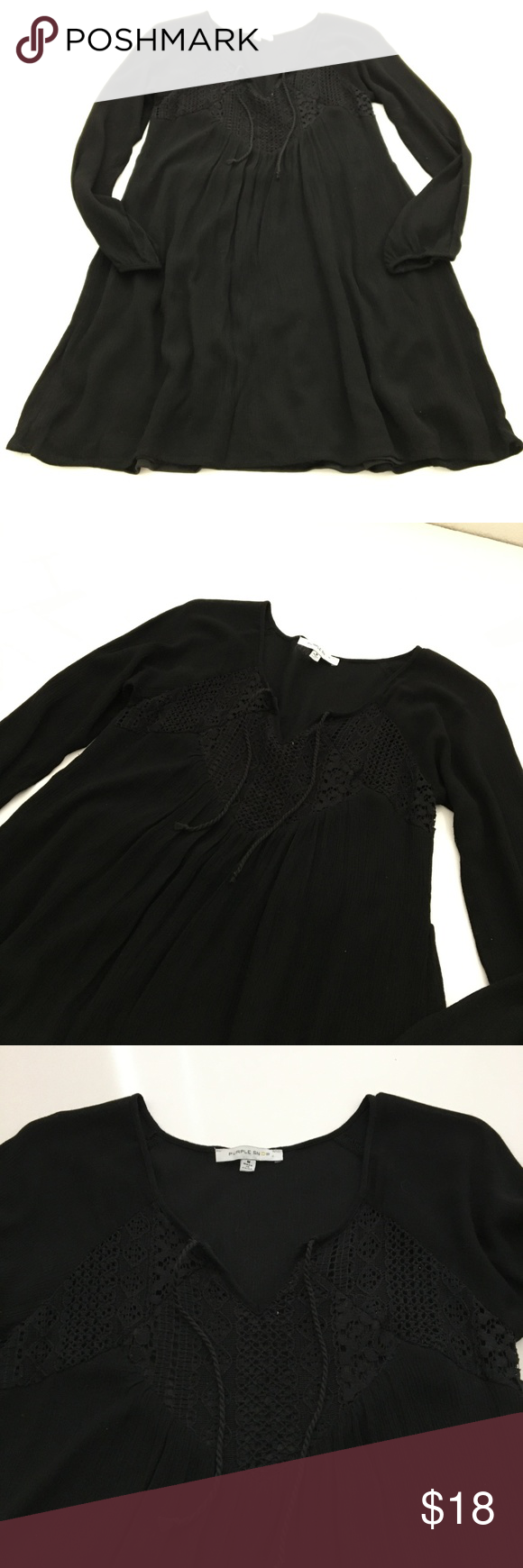 Purple Snow Black Gauze Long Sleeve Boho Mini Purple Snow black gauze and lace long sleeve mini dress. Lined, skirt with tie at neck. Size Medium.  All measurements are approximate and taken from flat lay. Material: Outer 100% Rayon, Liner 100% Polyester Pit to pit: 15