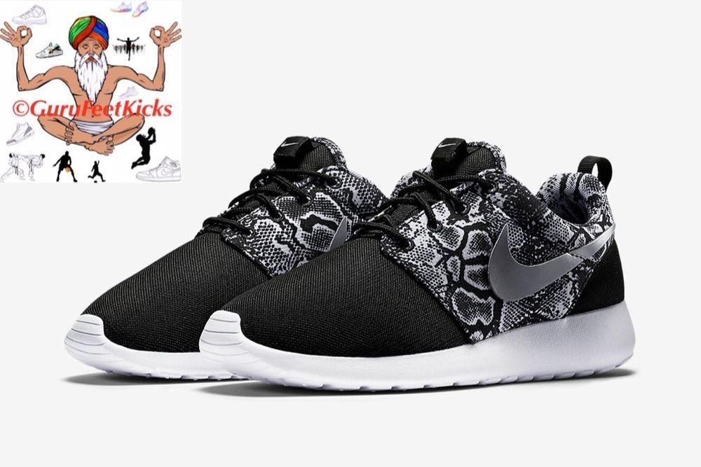 Womens Nike Run Roshe Une Impression Triple Serpent Mamba Noir