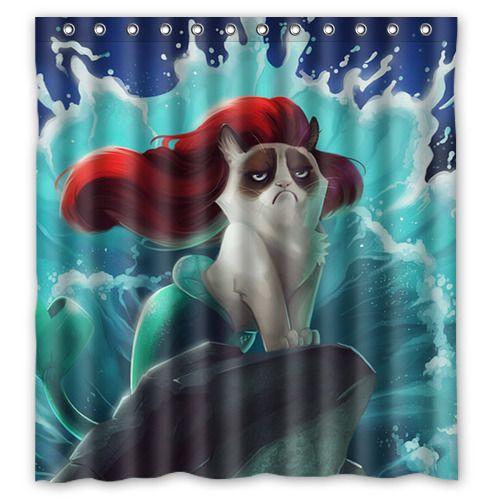 Funny Grumpy Cat Of Little Mermaid Waterproof Fabric Shower