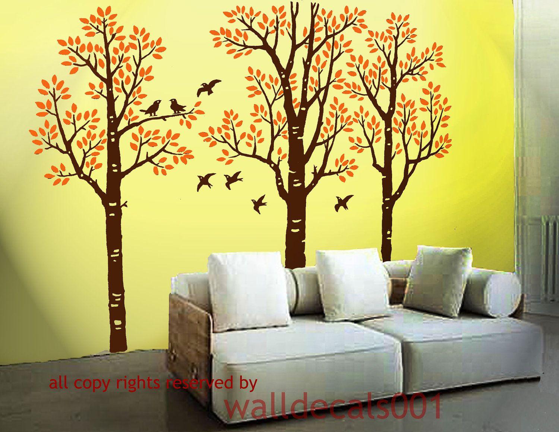 Tree Wall Decals Kids decals Birch Decals birds decal Nature room ...