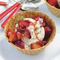 Grilled Fruit Sundaes|  http://www.rachaelraymag.com/Recipes/rachael-ray-magazine-recipe-search/dessert-recipes/grilled-fruit-sundaes