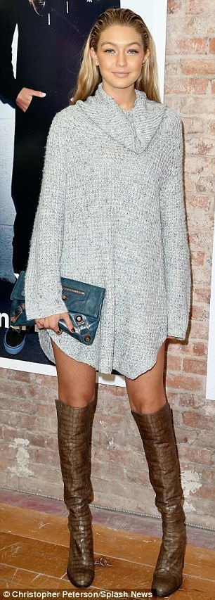 Gigi. Girl crush on another level. Sweater dress and over the knee ...