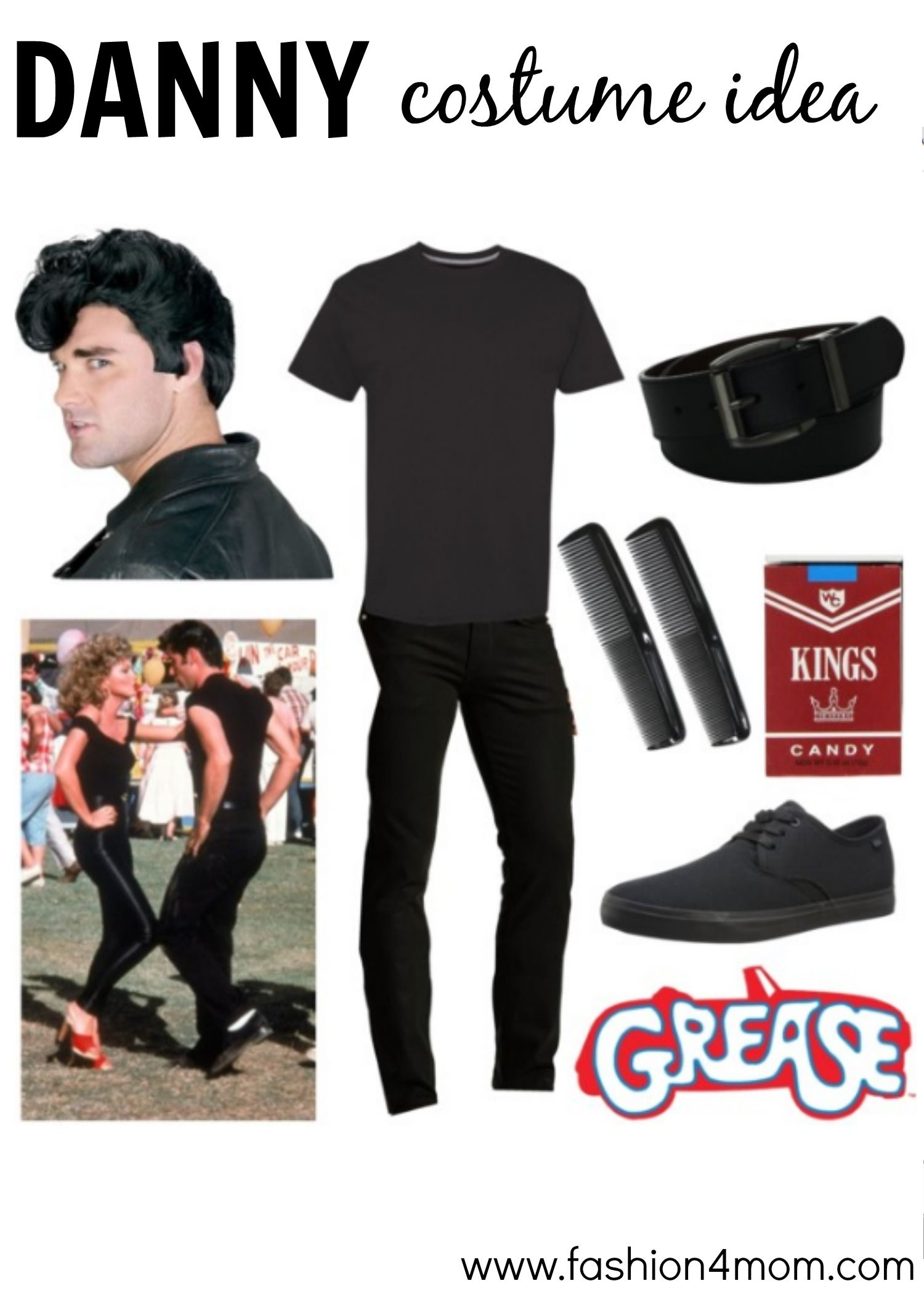 Danny zuko black t shirt - Grease Costume Idea The Pink Ladies T Birds Sandy Danny Fashion