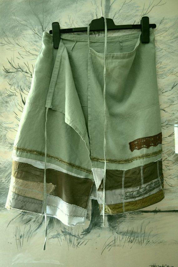 Skirt - linen, patchwork - cotton, Size : M waist - adjustable length- 56 cm ( 22,04 in )