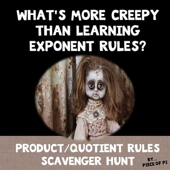 Exponent Rules Product Quotient Powers Scavenger Hunt Exponent Rules Exponents Quotient Rule