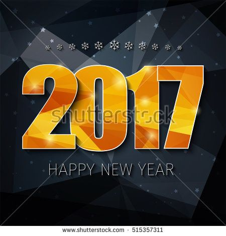 Design square web banner  background  Happy New Year  Template     Design square web banner  background  Happy New Year  Template polygonal  black background and gold abstract numbers 2017 on it  Vector illustration