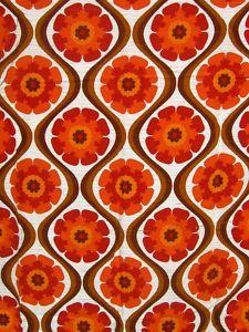 Vtg Curtain Fabric 60s 70s Heals