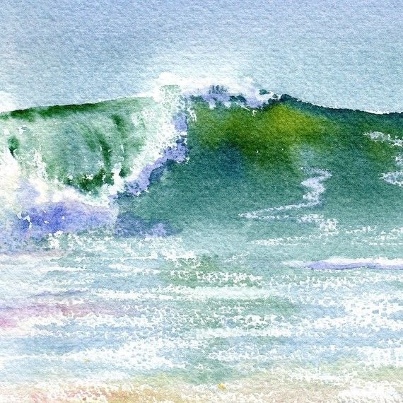 New Wave Seascape With Breaking Wave Giclee Aquarell Ozean