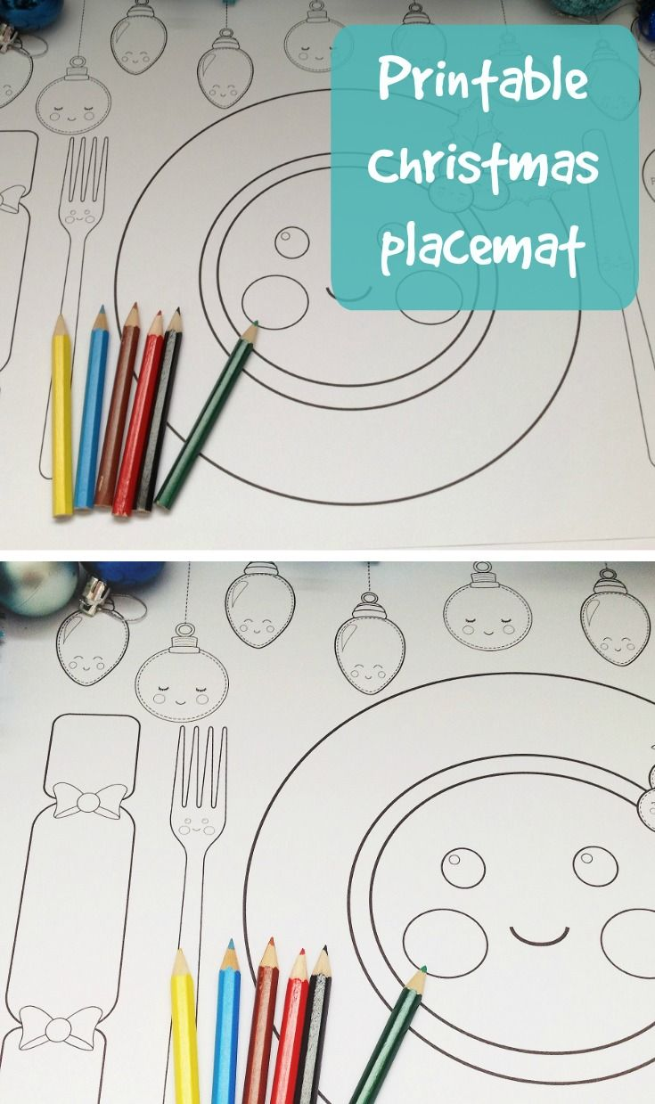 Free Printable Christmas Dinner Placemat Christmas Pinterest Kerst