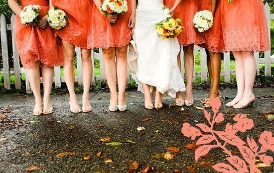 Orange Lace Bridesmaid Dresses