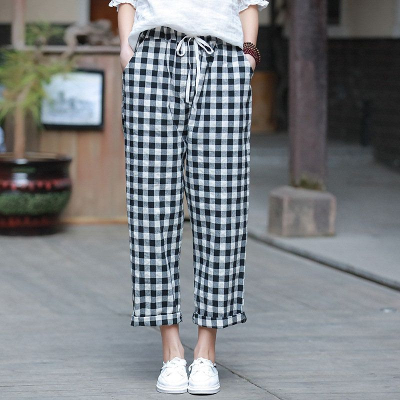 97d5f861457585 2019 NEW! Women Linen and Cotton Casual Cropped Small Leg Pants – Asian  Style Loose Plaid Pants by OsonianClothing on Etsy