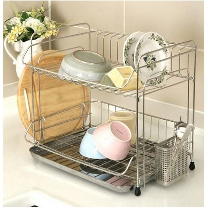 Stainless 2 Floor Dish Drying Rack Drainer Dryer Tray