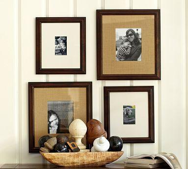 Multi-Mat Frames #potterybarn - burlap mat in brown wood frame   For ...