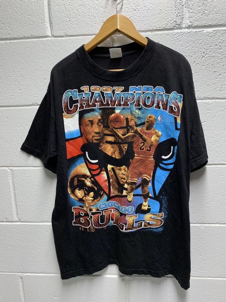 Vintage Rap Tee Chicago Bulls Michael Jordan Mens Size Large 90s T Shirt Michaeljordan