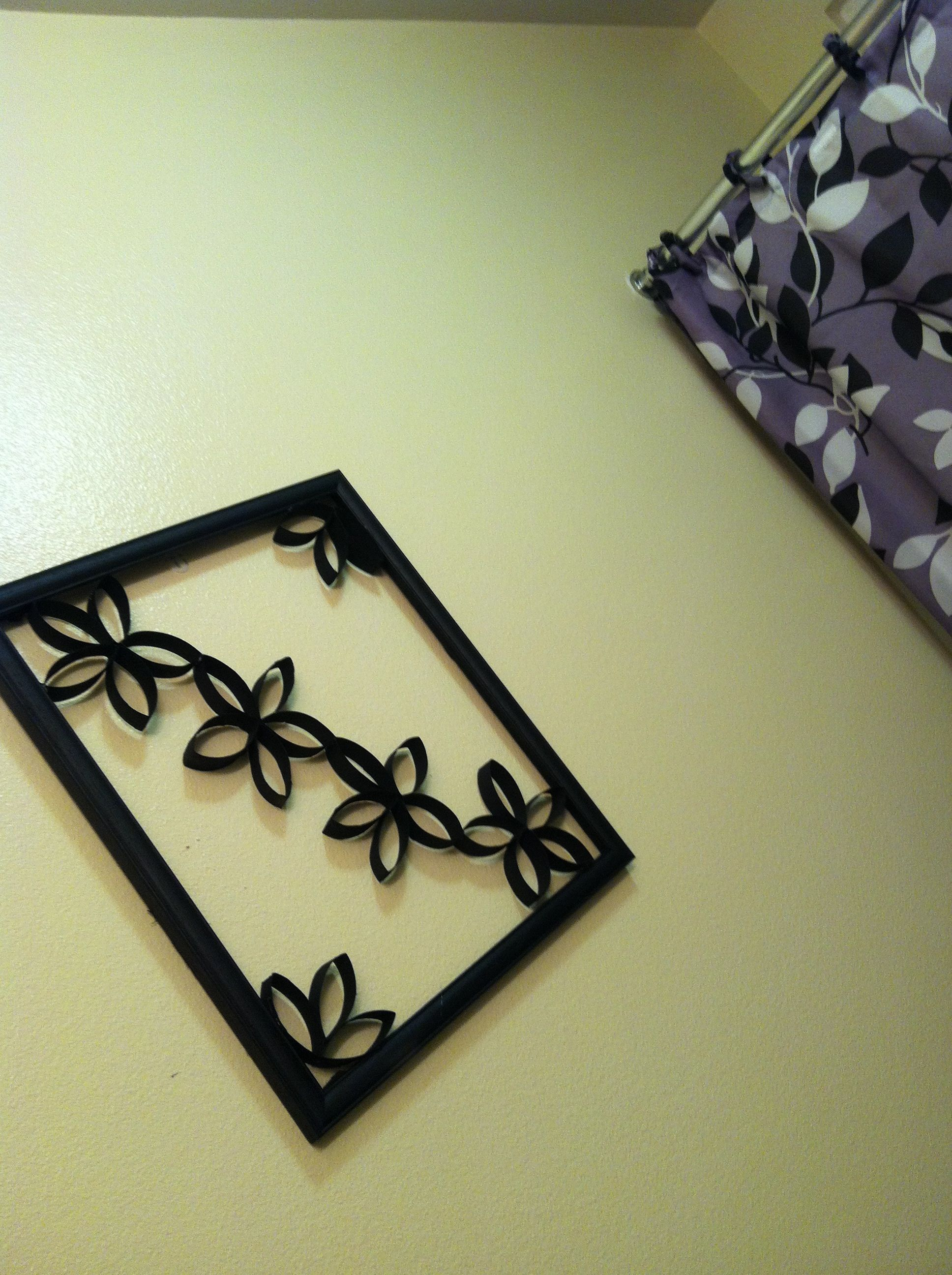 I made it recycled pic frame and toilet paper rolls #bathroomdeco ...