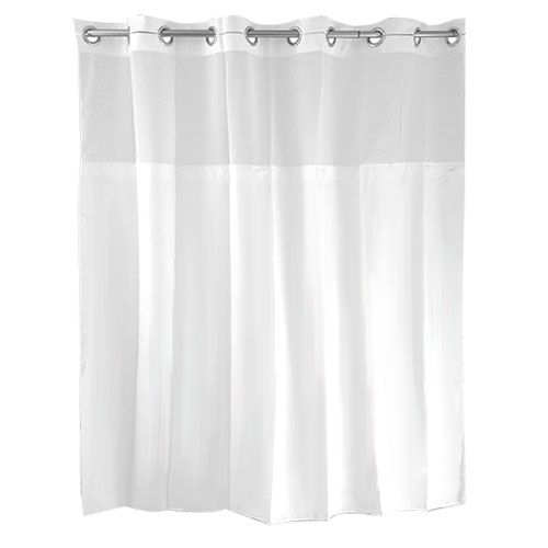 Hookless Mystery White Shower Curtain W Built In Liner White