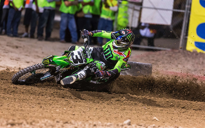 Download Wallpapers Eli Tomac Raceway Kawasaki Kx 450 Supercross