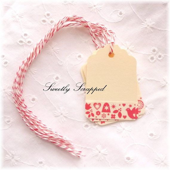 Vintage Style Tags Red Retro Pattern with by SweetlyScrappedArt