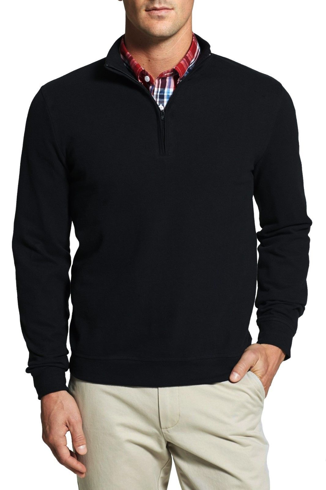 NORDSTROM 1/4 Zip Mock Neck Cotton Pullover Sweater in Black ...