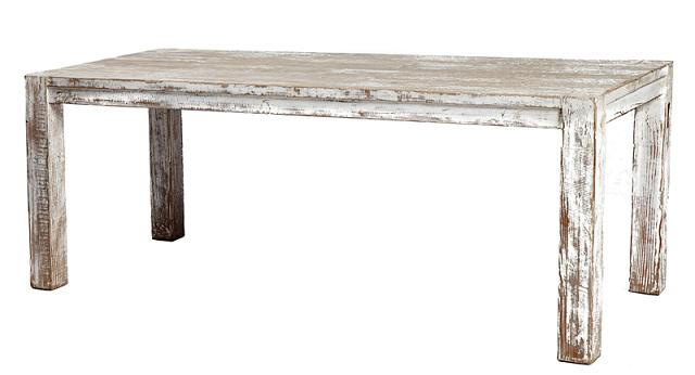 Mesa de comedor, acabado en blanco lavado, madera de pino ...