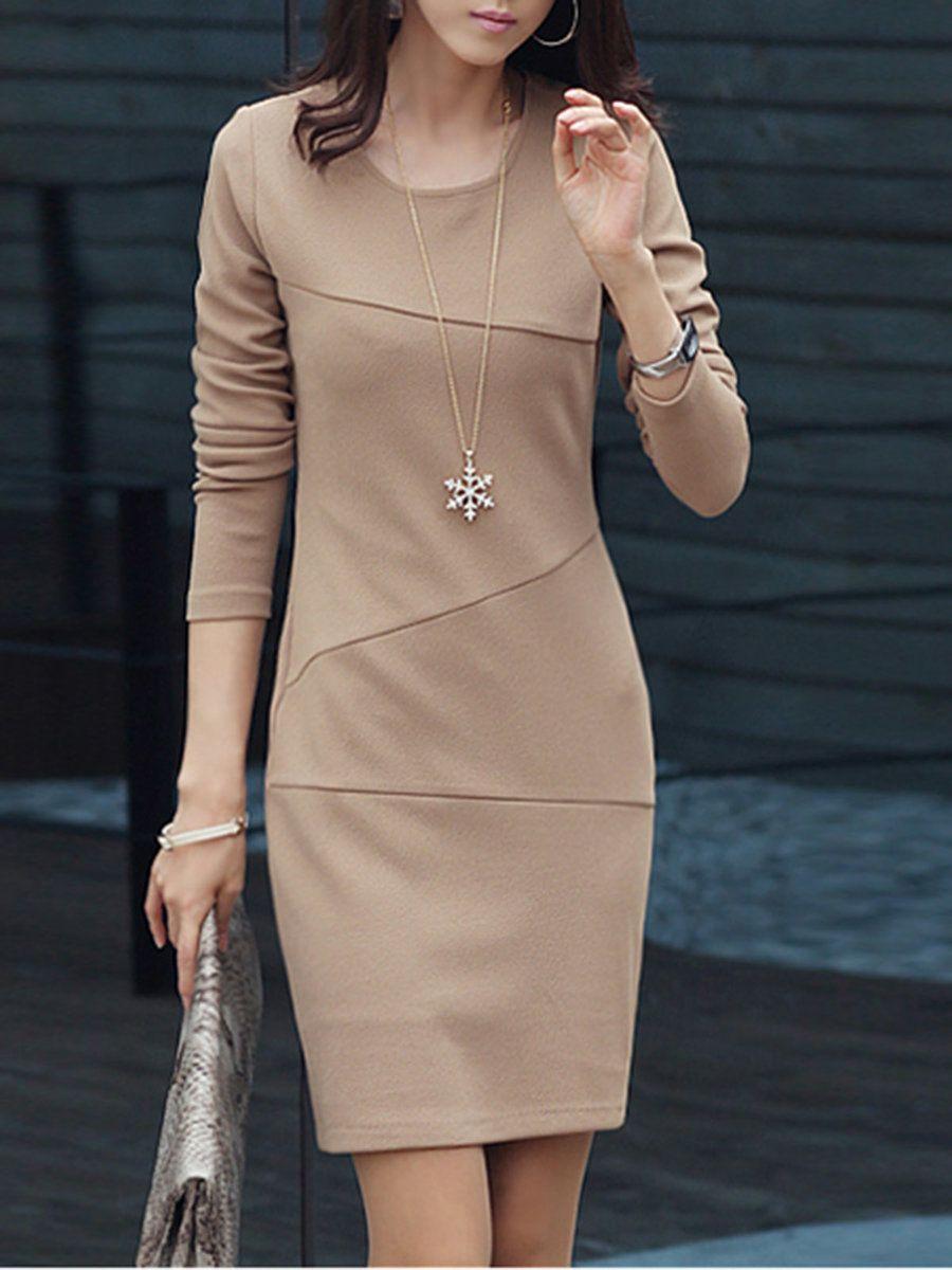 Crew neck apricot women elegant dress daytime long sleeve casual