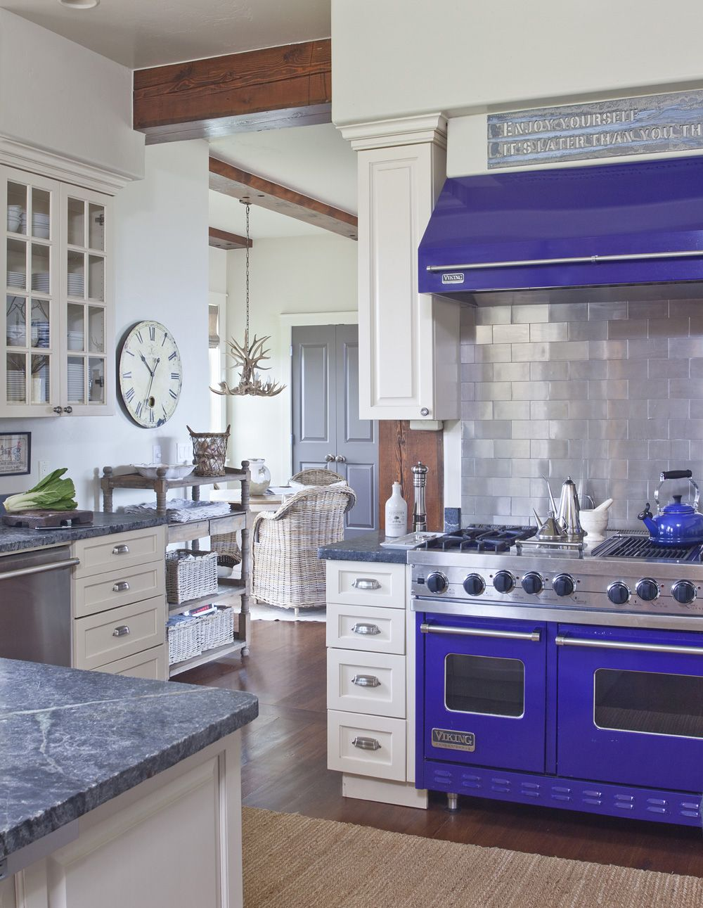Awesome cobalt Viking stove! Kitchen is pretty awesome as well!
