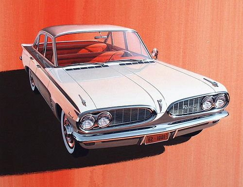 Another beautiful illustration by Art Fitzpatrick. 1962 Pontiac Tempest.