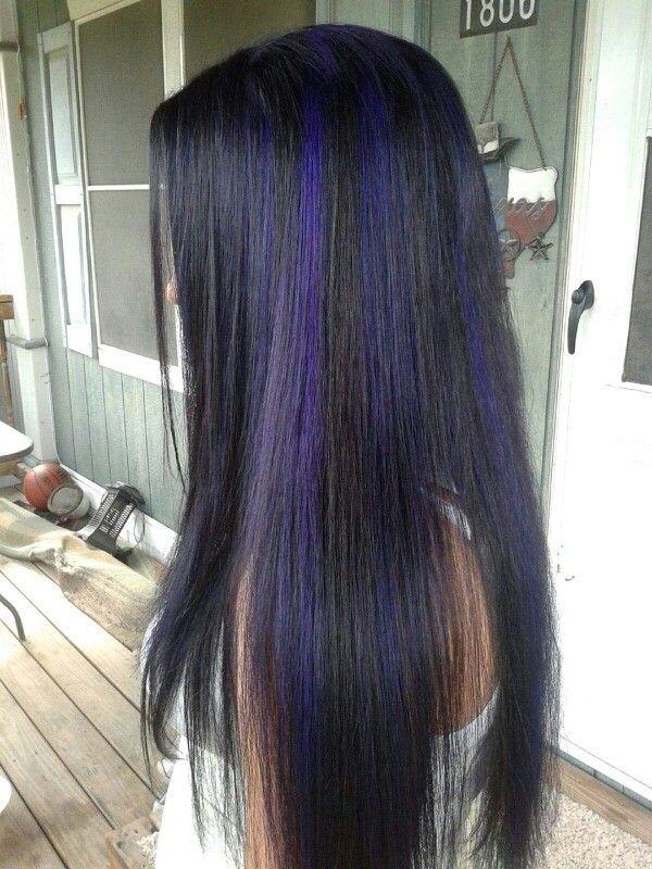 My Black Hair With Purple Highlights Purple Hair Cool Hair Color Hair