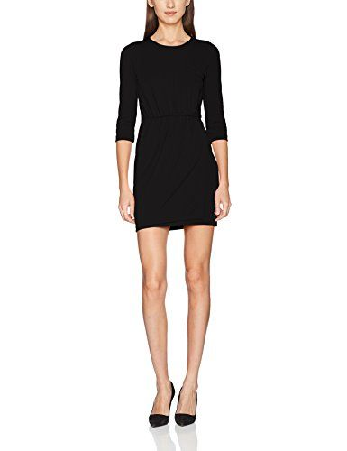 48924655730 French Connection Elsa Drape Jersey L S Rd Nk Vestido para Mujer Negro  (Black 1) 12