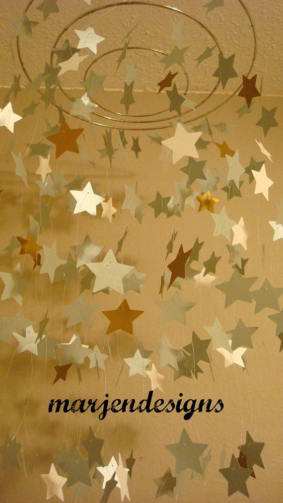 silver gold shimmery star mobile dorm room decor by marjendesigns ...