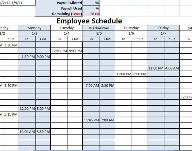 Work Schedule Template Excel Free schedule template Pinterest - work schedule