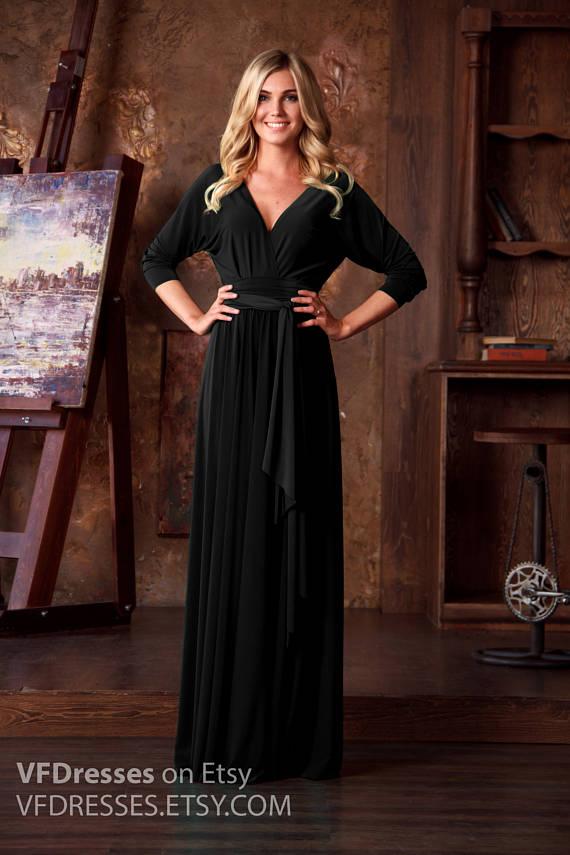 Black Maxi Dress, formal evening dress, long evening dress, bat ...