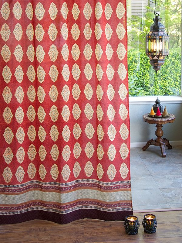 Spice Route ~ Red Orange Moroccan Indian Sheer Curtain Panel. From ...