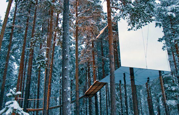 das mirrorcube zimmer im baumhaushotel tree hotel harads schweden winterreise pinterest. Black Bedroom Furniture Sets. Home Design Ideas