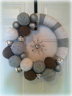 Snowflake Yarn Wreath by MyCraftyMomma on Etsy, $40.00