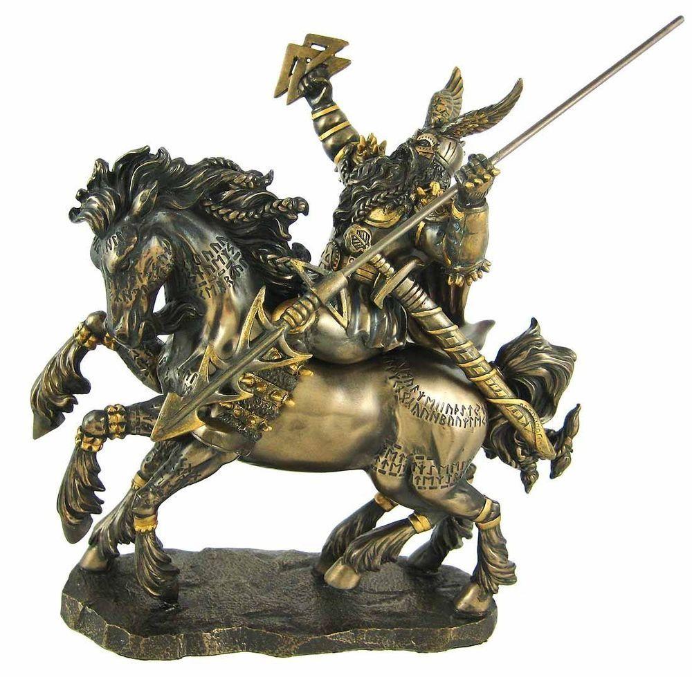 Norse Odin Bronze Finish Statue Pagan Viking