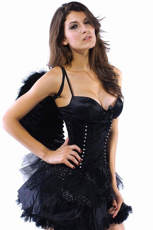 Schwarzer Engel Dark Black Angel Flugel Kostum Karneval Halloween