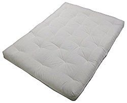 Epic Furnishings Au Natural 8 Loft All Cotton Filled Futon Mattress King Size Twill Off White Color