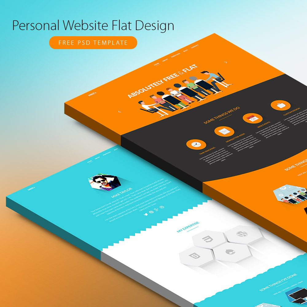 p> personal website flat design psd template here here are 2 lovely flat templates that you can use to create personal or corporate websites this new website template in psd format