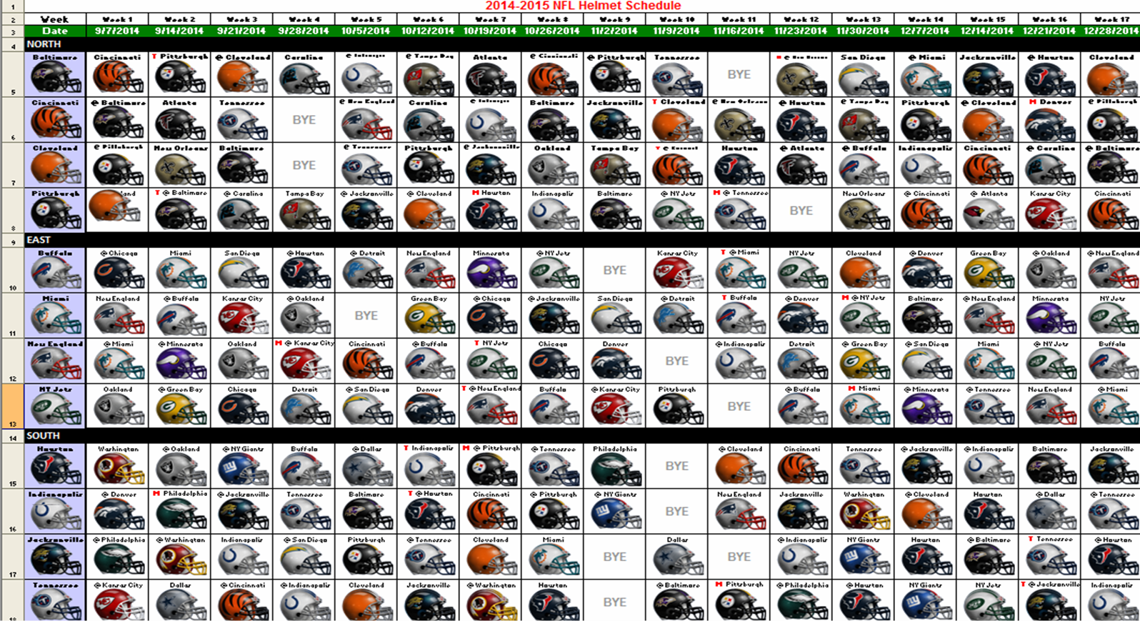 Download a 2014 NFL schedule with all the team's helmet ...