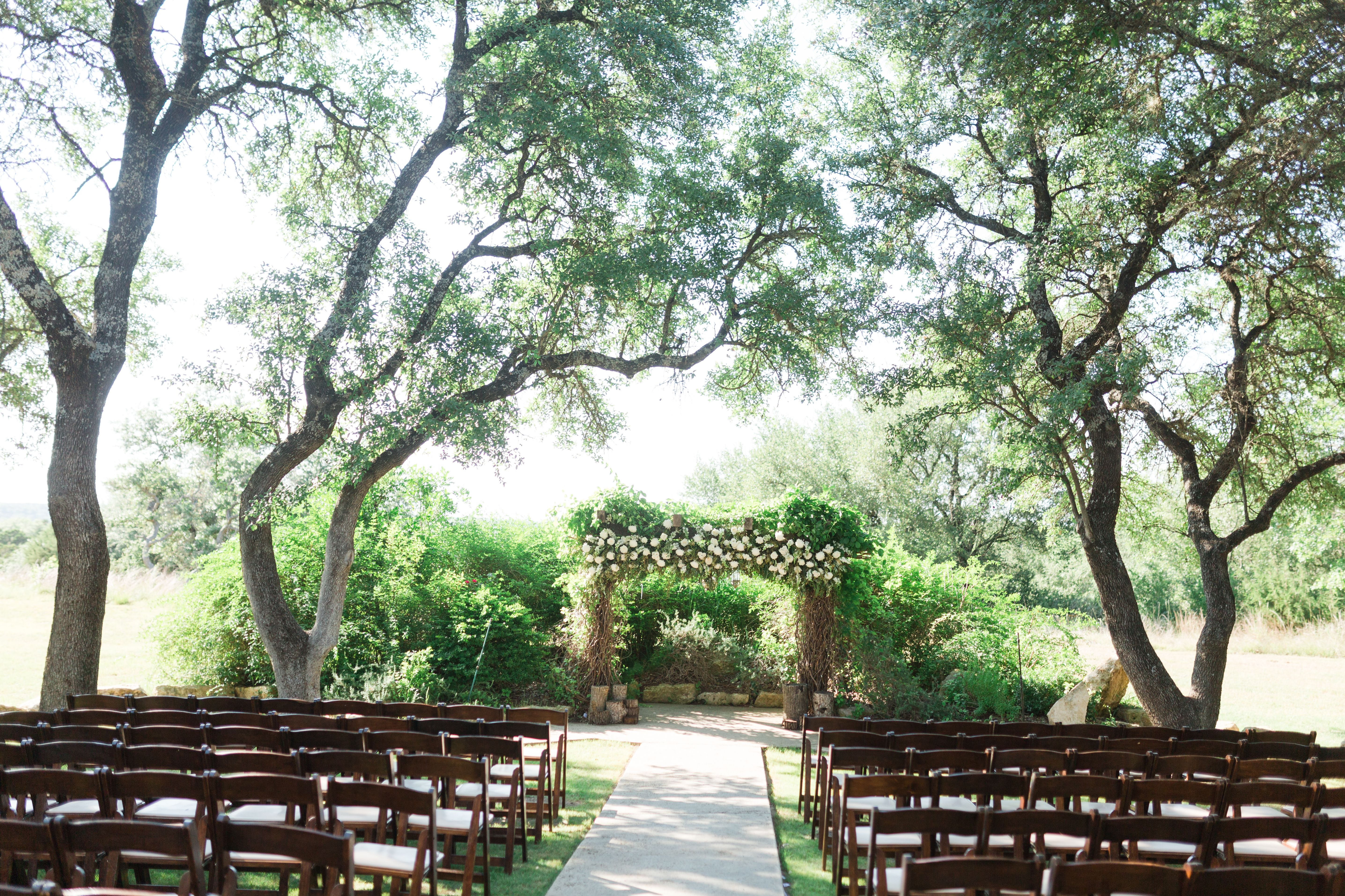 Stunning Outdoor Wedding Ceremony In Texas Hill Country White