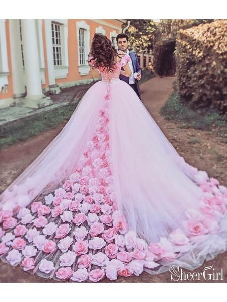 Photo of Pink Cathedral Wedding Dress Vintage 3D Flowe Applique Wedding Gown AWD1414-Shee…
