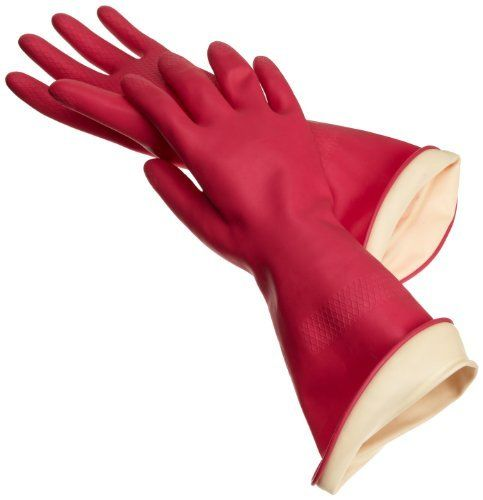 Red Long Latex Mitts Rubber Gloves one size