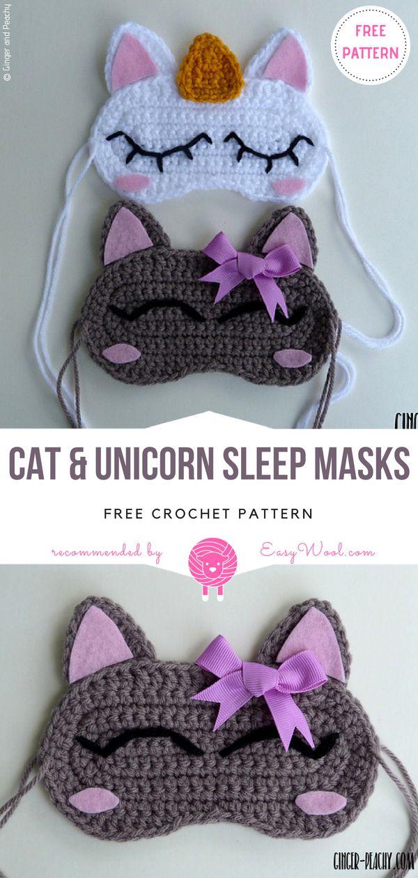 Cat & Unicorn Sleep Masks Free Crochet Pattern | EASYWOOL | Crochet ...