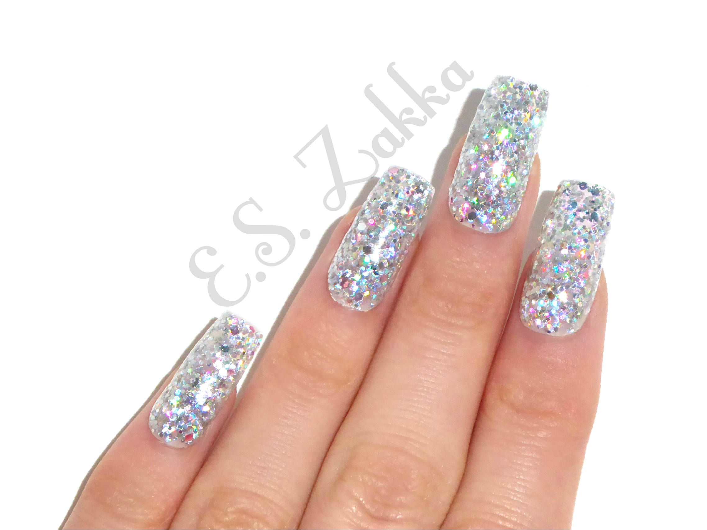 Holographic Glitter Gel Nails / Fake nails, press on nails, nail ...