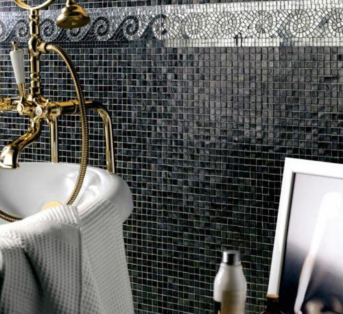 Gläsеrne Mosaik Fliesen Bad Idee Design Schwarze