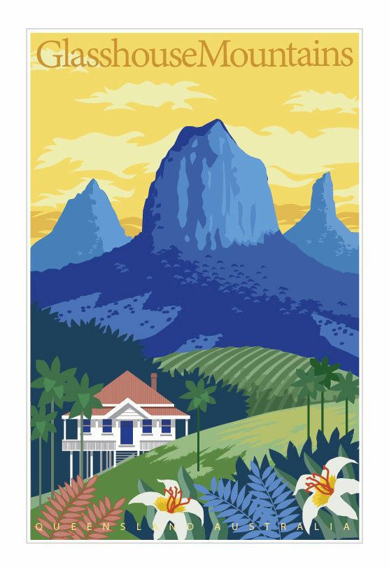 Vintage Poster Travel Poster Art Deco Poster Glasshouse Mountains Poster Queensland Poster Australia Poster Tropical Queensland Poster Posters Australia Art Deco Poster Travel Posters Art Deco